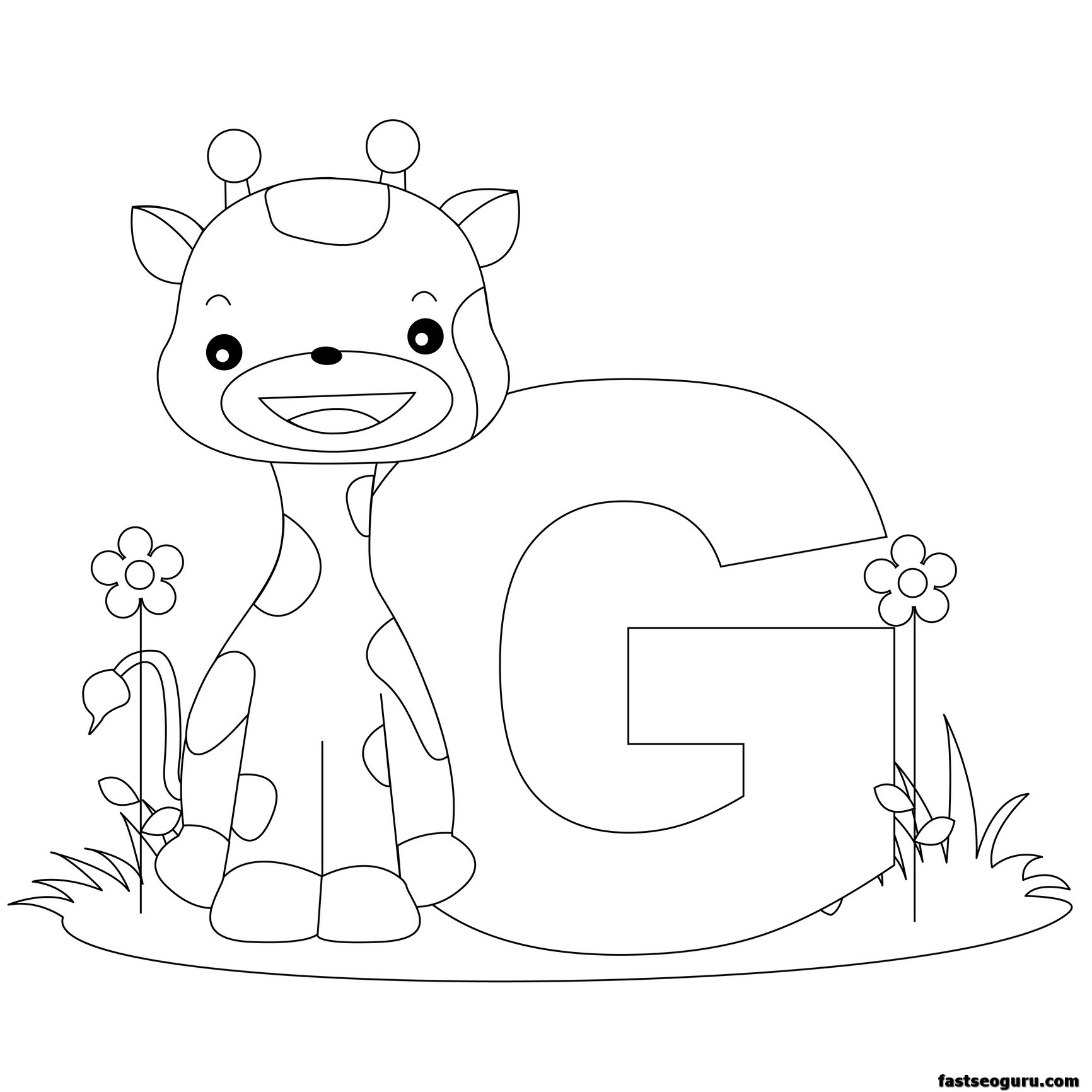 Printable Animal Alphabet Worksheets Letter G Is For