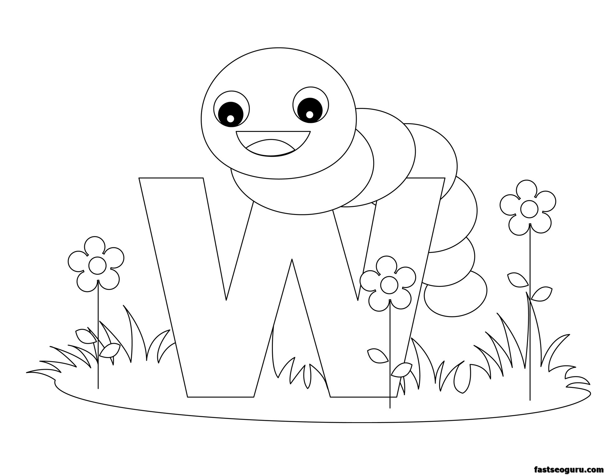 Printable Animal Alphabet Worksheets Letter W Is For Worm