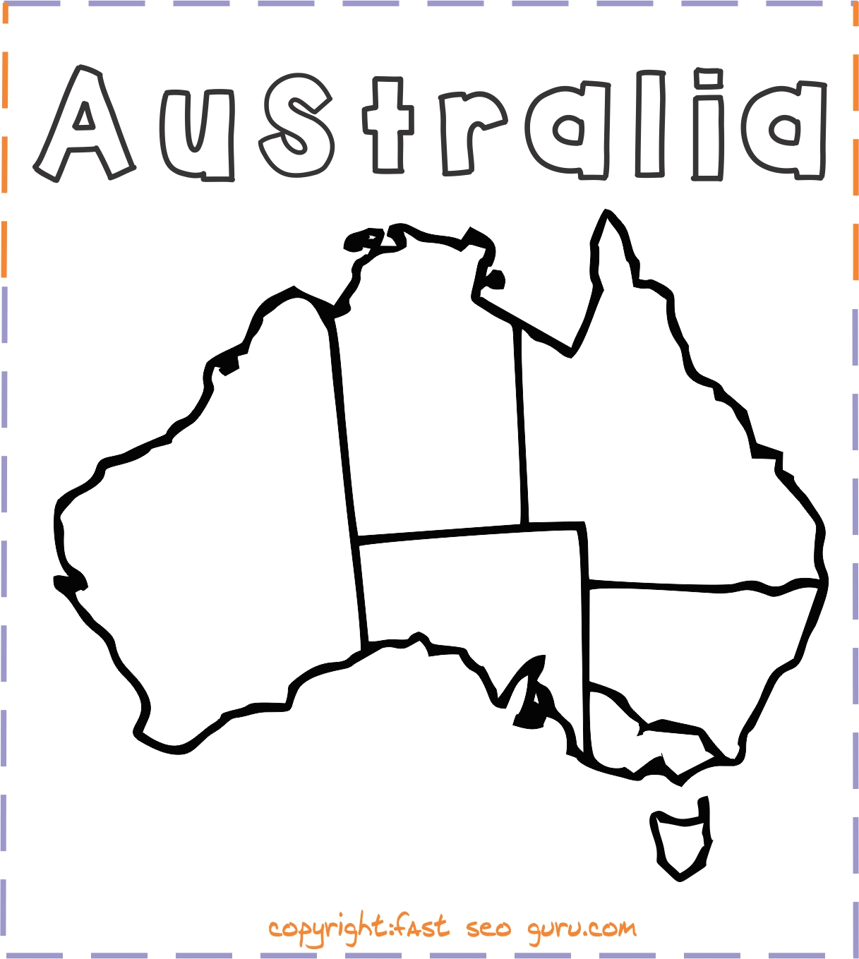 Printable Australia Map Coloring Page