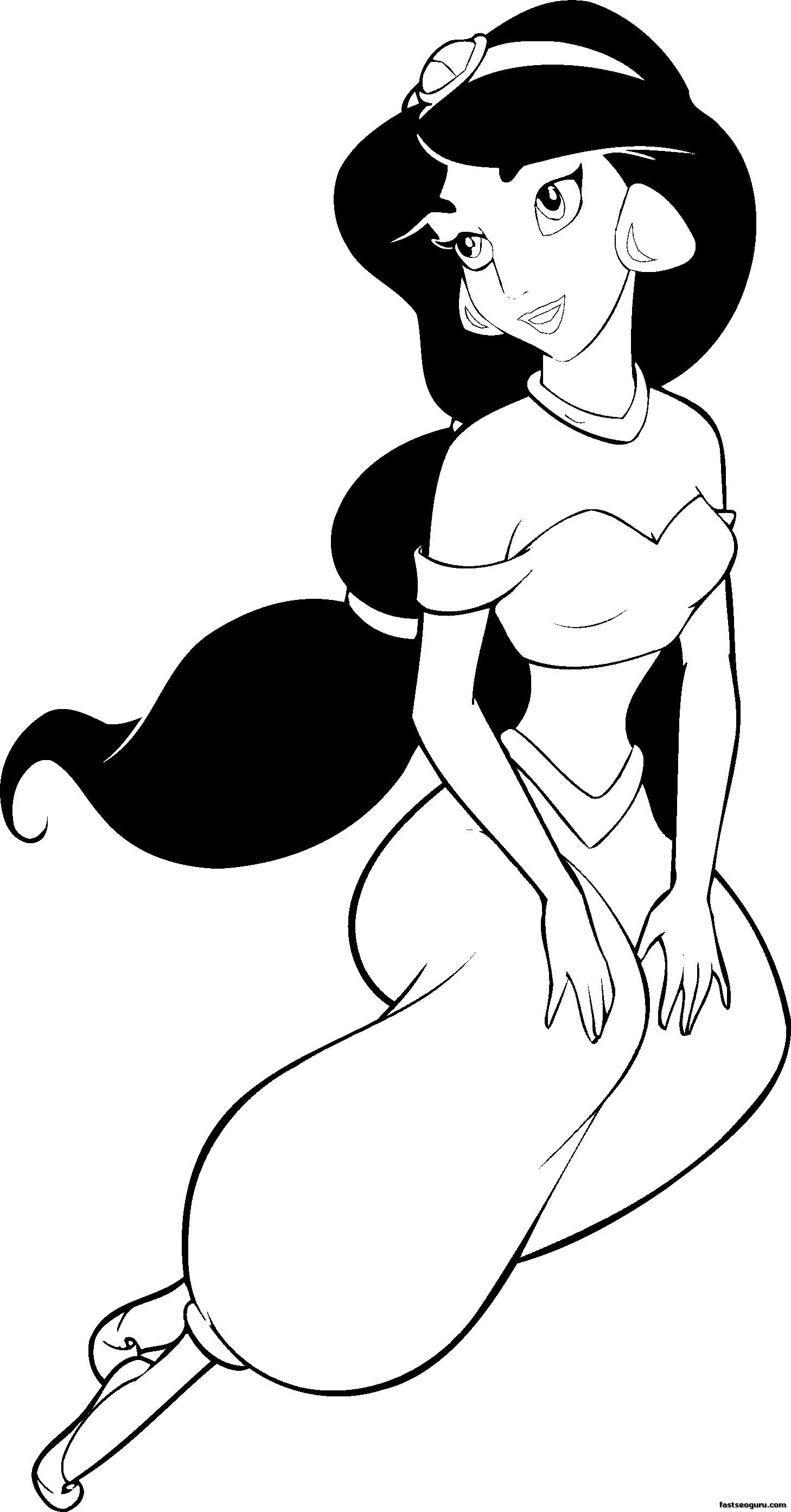 Printable Coloring Pages Disney Princesses Jasmine