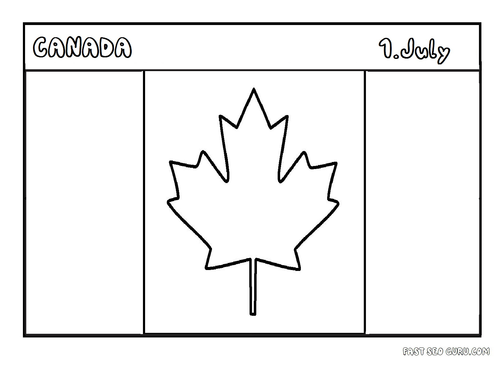 Printable Flag Of Canada Coloring Page