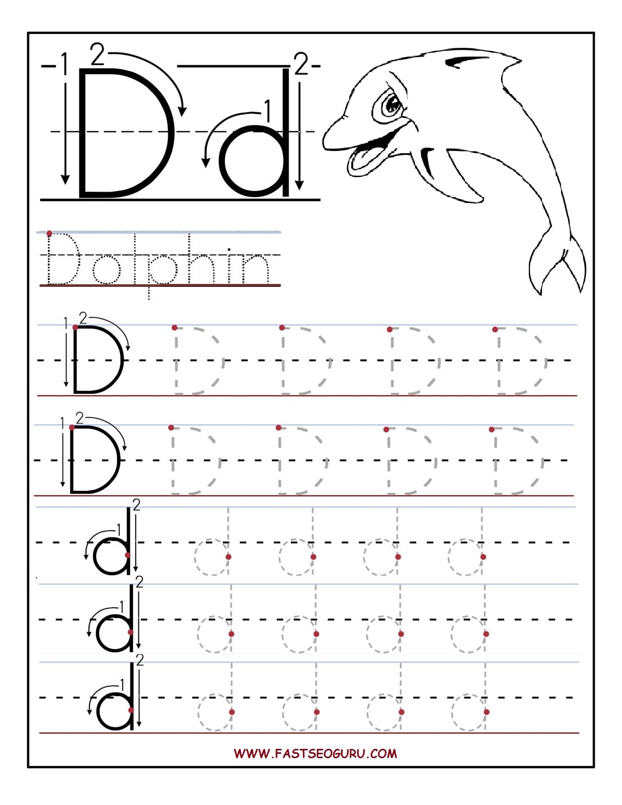 Tracing Worksheets Letter D And Printable Letters