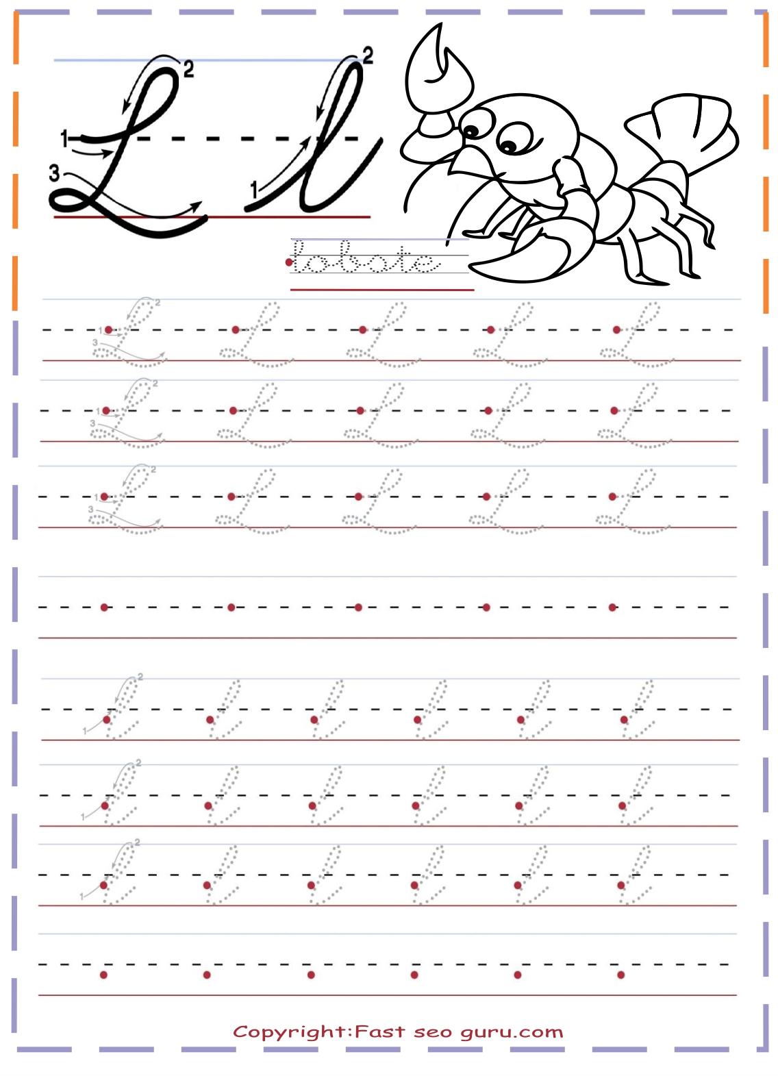 Cursive Handwriting Practice Tracing Worksheets Letter L