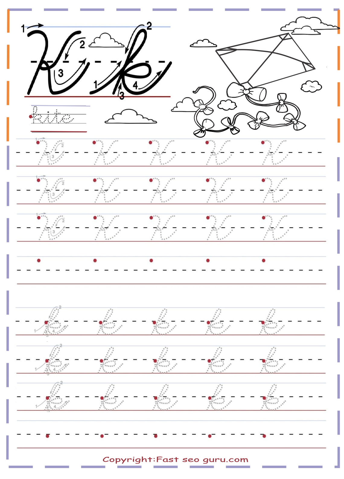 Cursive Writing Letters Worksheets