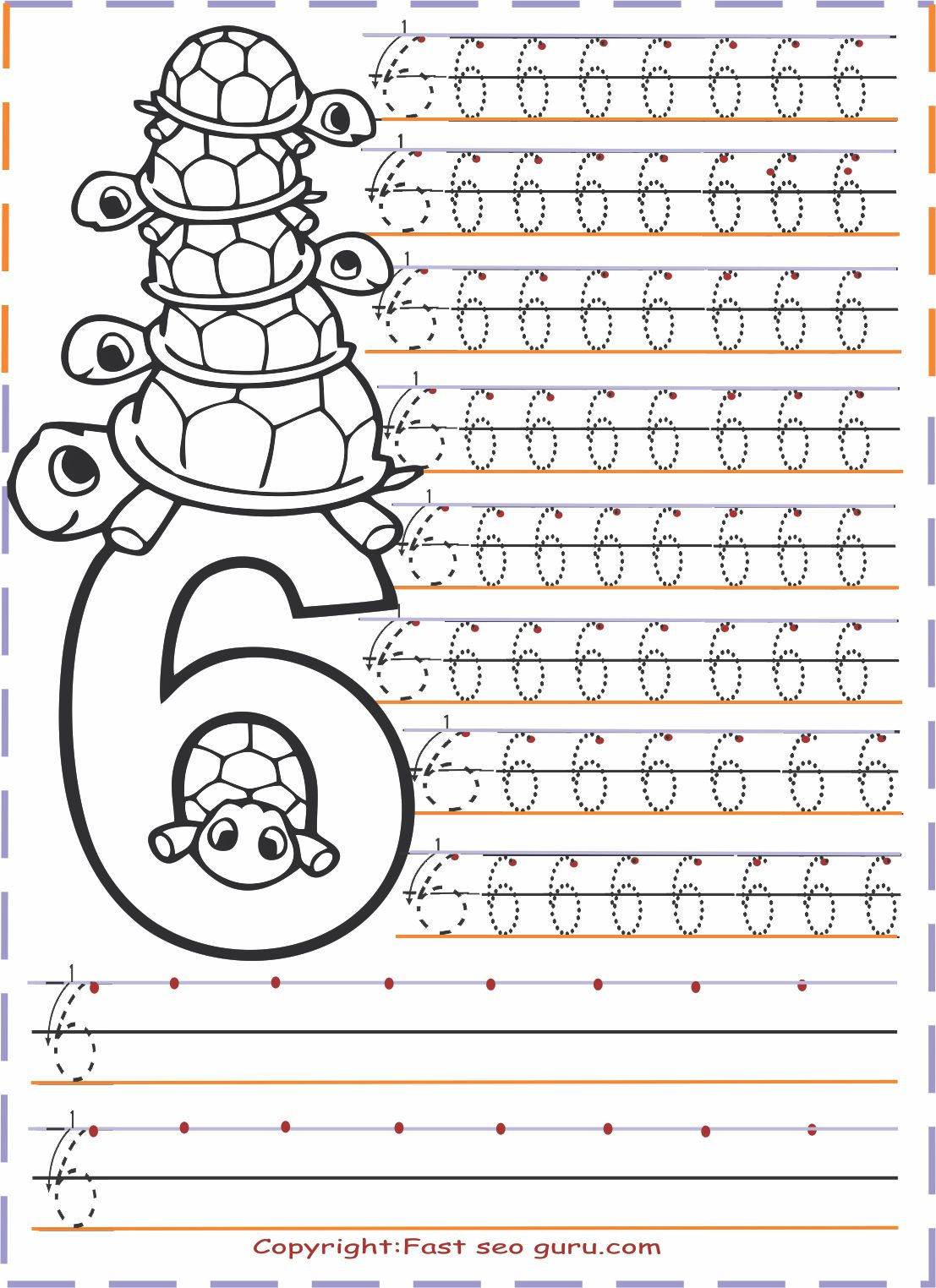 Numbers Tracing Worksheets 6 For Kindergarten