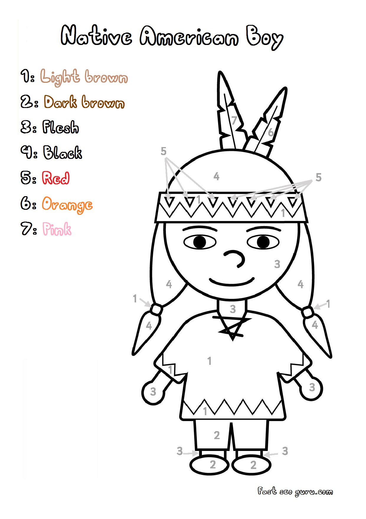 Printable Thanksgiving Native Colour By Number Colorign Page