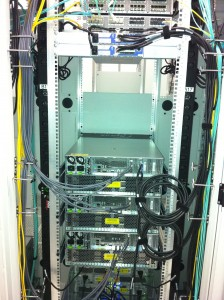 Isilon rack and stack: cabled up and ready to go (after installing the power cabling).