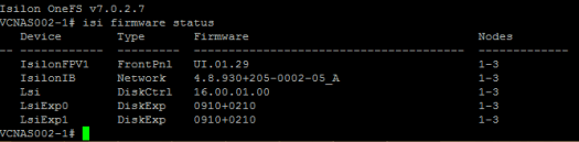 Isilon firmware upgrade status for all nodes.