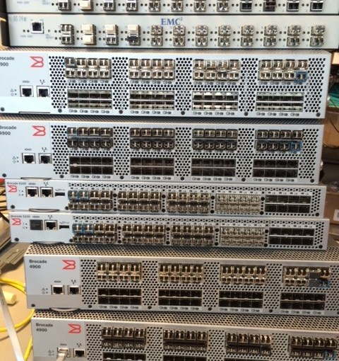 A pile of decommissioned Brocade switches. Or now: doorsteps.