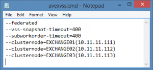 avexvss.cmd parameters