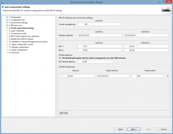 RecoverPoint Deployment Manager - IP Connectivity
