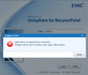 RecoverPoint password incorrect error display