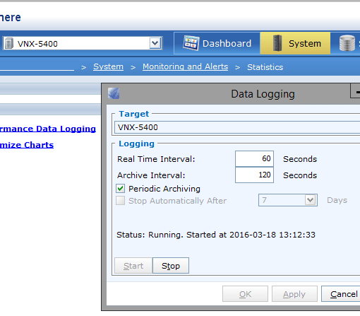 VNX performance data logging