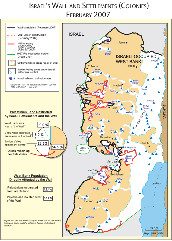 Maps of Israel, Palestine, the Wall, and Settlements (6/6)