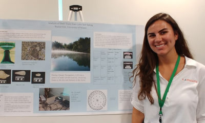 "Rachel Hilt, University of Miami with her poster ""Analysis of Shell Tools from Little Salt Spring"""