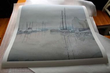 Druck des Aquarells – Morgenstimmung im Hafen – auf Hahnemühle Papier – Albrecht Dürer (c) Frank Koebsch