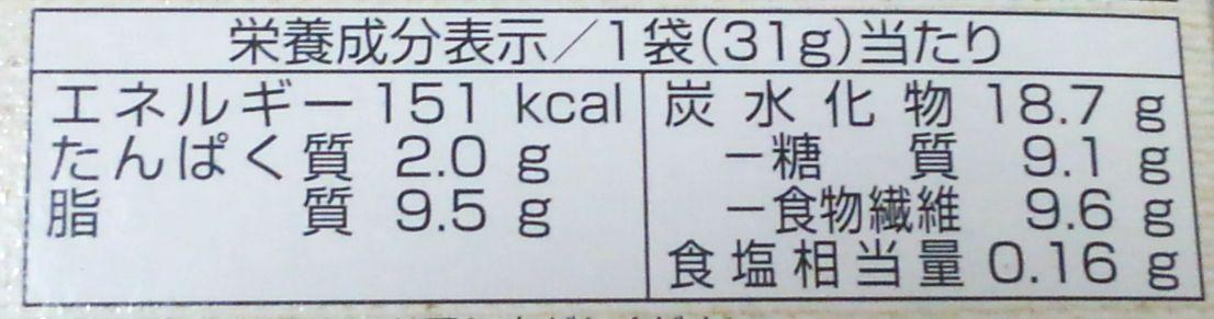 SUNAOビスケット抹茶栄養成分表示