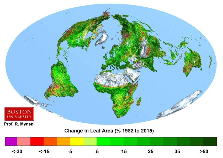 CO2/ Ferilisation/ grŸne Erde/ Change in Leaf Area