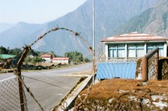 The runway at Lukla Airport. Look at the slope
