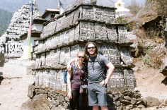Ben and Tash in front of some carved stones