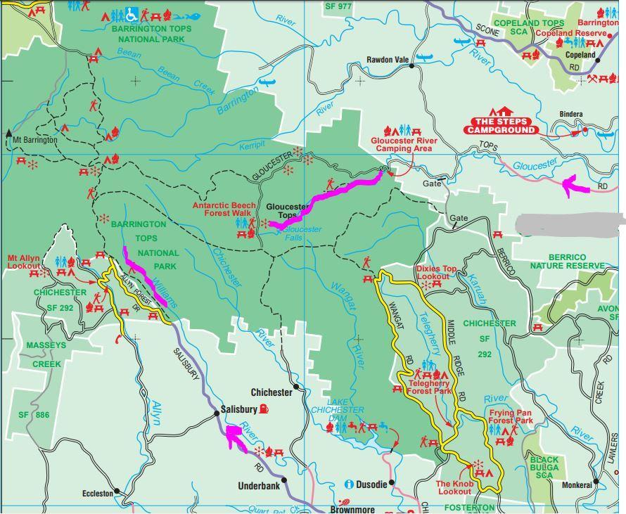 Barrington Tops map