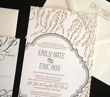 Emily and Eric   Letterpress wedding invitation