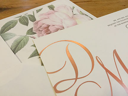 Looks We Love: Rose Gold and Roses | Foil and Letterpress Invitation with Rose Liner