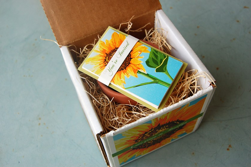 """Love Grows in Brooklyn"" by Fat Cat Paperie, Couture invitation, sunflower design with flower pot and seeds"
