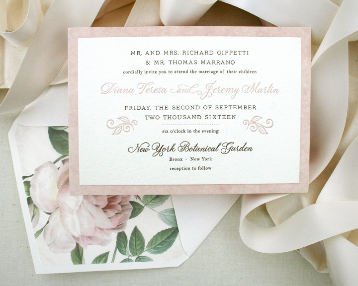 Diana+Jeremy, blush rose wedding invitation, letterpress, floral design on 3ply paper, blush and chocolate color palette
