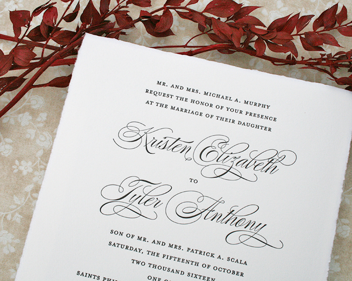 Torn edge letterpress wedding invitation, calligraphy style script cursive names, black ink on soft white paper, square format, formal, classic, traditional style