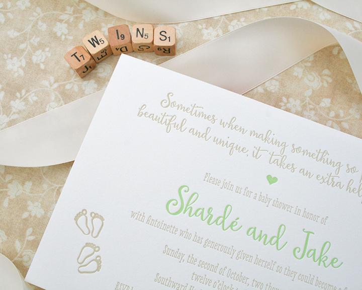 Baby Shower Invitation, Letterpress, Twins