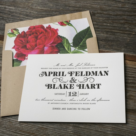 Boutonniere by BellaFigura, Letterpress Invitation with Red Floral Liner