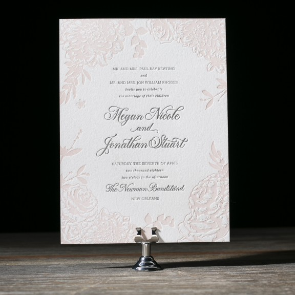 Lush Garden by Bella Figura, Wedding Invitation with Floral Border, Letterpress