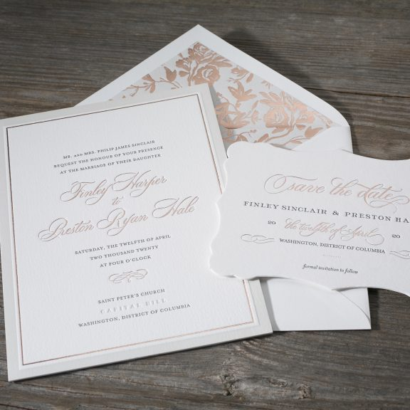 Townsend by BellaFigura, Wedding Invitation with Rose Gold Foil and Floral Envelope Liner