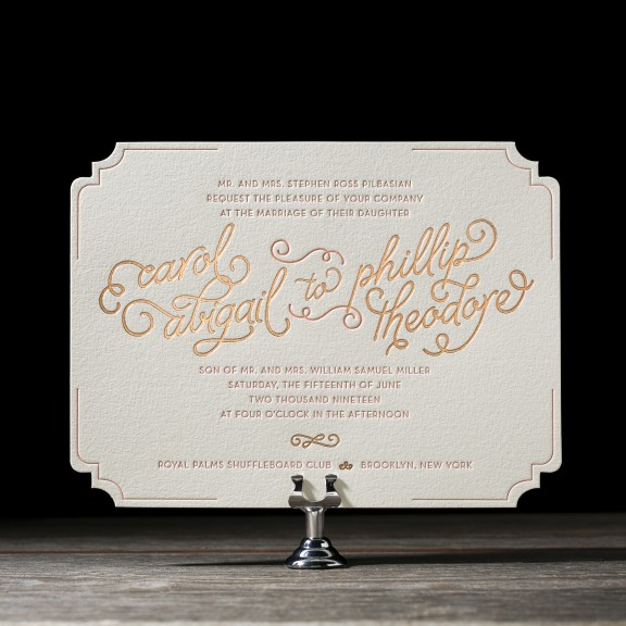 Abigail by Bella Figura, foil and letterpress whimsical typography invitation, diecut shape, peach and copper color palette, hand drawn style font and details