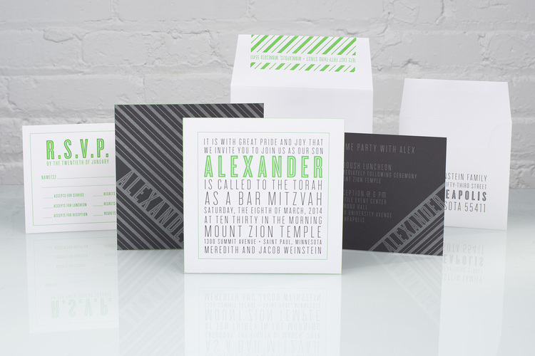 Alexander by Spark, Mitzvah Invitation, Black and Green