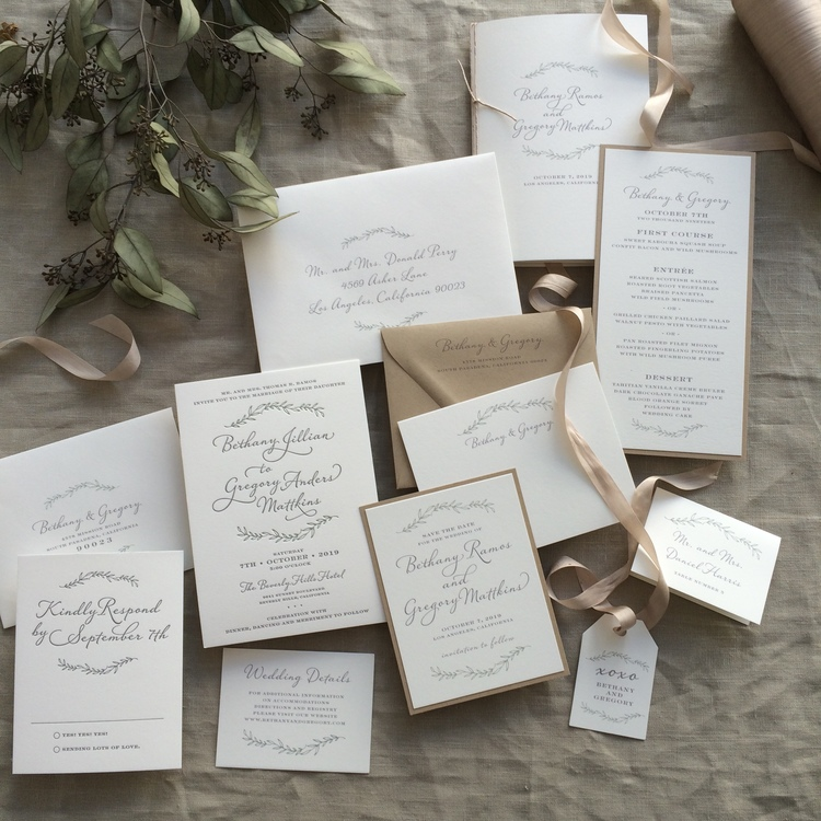 Bethany by B.T.Elements, Rustic wedding invitation with leafy branch illustrations, calligraphy style script, ivory gray green and kraft paper, thank you note, menu, save the date, program and favor tag in same style