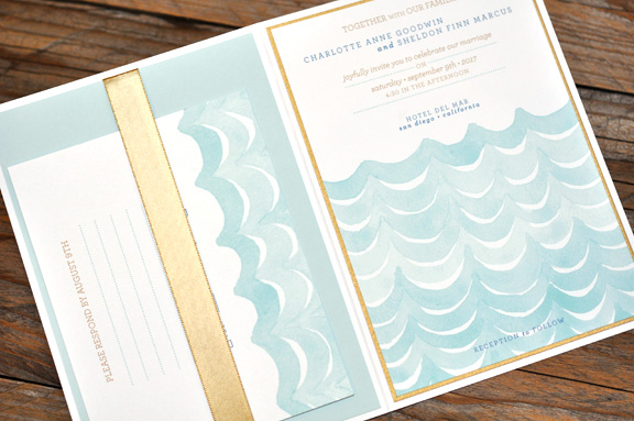Charlotte by B.T.Elements, Whimsical nautical pocket invitation with ribbon, blue and soft gold color palette