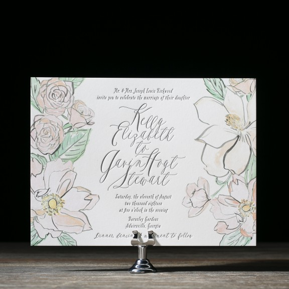 English Garden by Bella Figura, whimsical floral invitation with calligraphy style font, pastel color palette