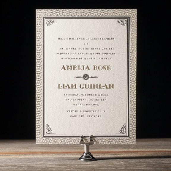 Fitzgerald by Bella Figura, deco foil and letterpress invitation, decorative border, black and gold palette