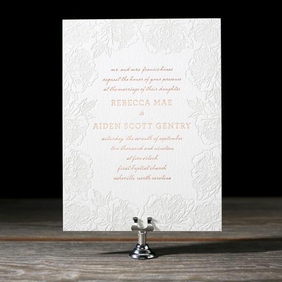 Jorie by Bella Figura, floral border letterpress invitation