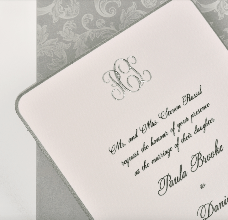 Paula by Lemontree, black and silver monogram invitation, formal invitation with beveled edge, traditional style