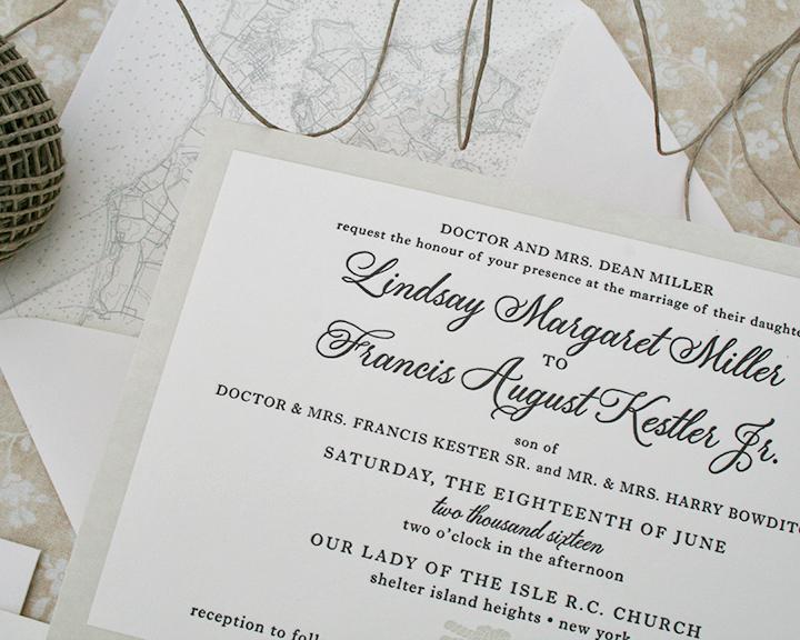 Lindsay+Frank, Wedding Invitation, Letterpress with Nautical Map