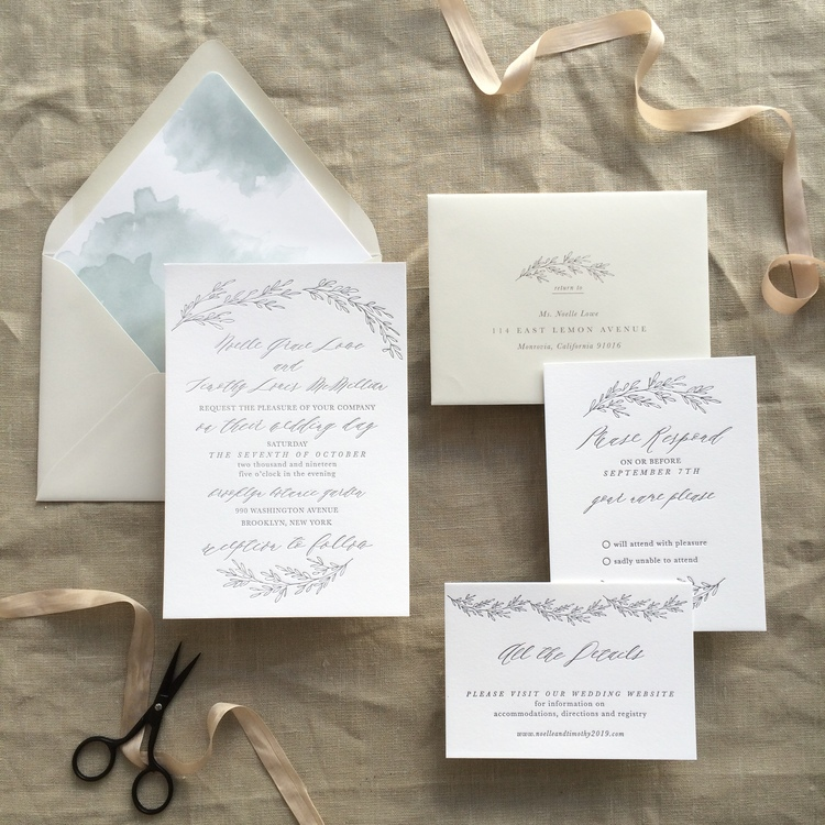Noelle by BTE, watercolor envelope liner and letterpress invitation with branch details
