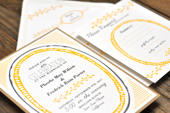 Phoebe by BTElements, Whimsical wedding invitation with rustic details, yellow and gray color palette, layered invitation with white and kraft papers, whimsical fonts, leaf illustration and circle frame on a striped background