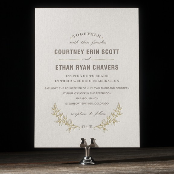 branch by bella figura, greenery letterpress invitation