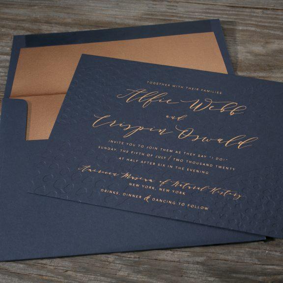 Garnet by Bella Figura, foil invitation, navy and copper