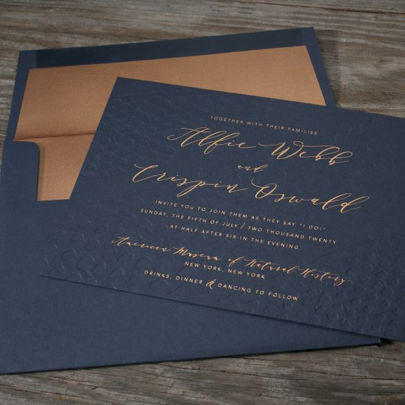 Garnet by Bella Figura, foil invitation, navy and copper, blind press letterpress background with copper foil text, modern, hand drawn calligraphy style font, navy envelope with copper liner