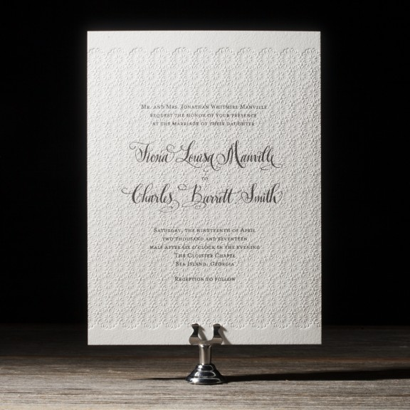 Gournay by Bella Figura, Letterpress invitation with floral blind deboss pattern