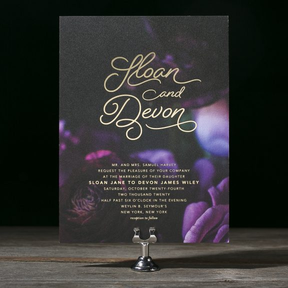 Sloan by Bella Figura, modern floral and foil wedding invitation
